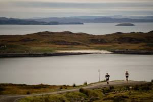 The run leaders at approx third of the way - looking over the lovely beach on Isle Ristol